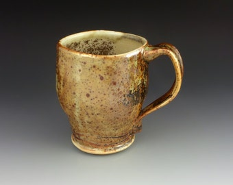 14oz Percelain Mug with Shino Glaze and Wood Ash