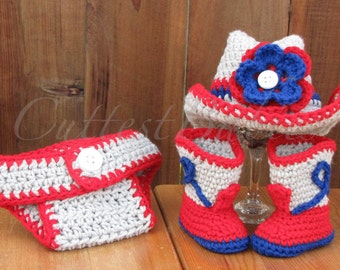 New England Patriots Newborn Baby Crochet Cowboy/ Cowgirl Hat, Boots & Diaper Cover Photo Prop