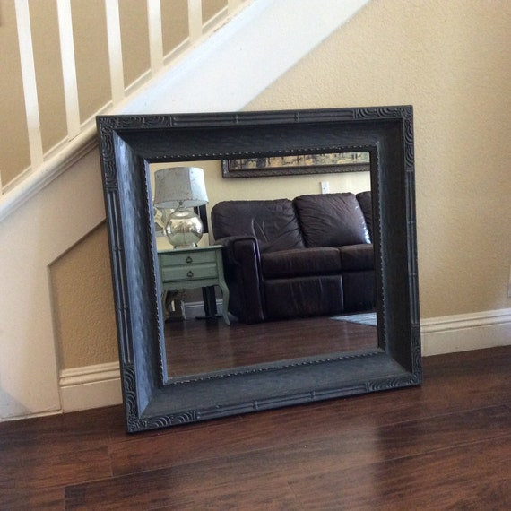 Large black mirror rustic wall mirror chic mirror with thick for Big black wall mirror