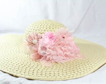 Kentucky Derby Hat- Pink and Creme