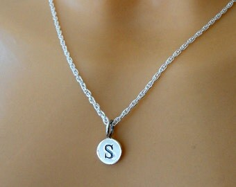 Initial necklace, Sterling silver initial necklace, Personalised necklace, Sterling silver rope necklace with initial charm, Gifts
