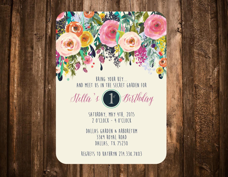 secret garden birthday invitation bright floral printable or. Black Bedroom Furniture Sets. Home Design Ideas