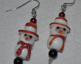 Snowman Earrings in Handblown Glass.