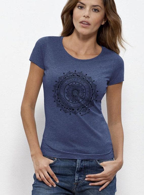 womens mandala t shirt organic cotton yoga clothes womens