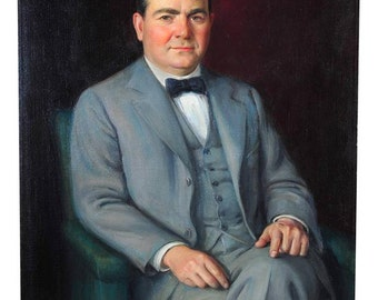 Library Portrait of a Distinguished Gentleman-c1920s Oil Painting on Canvas
