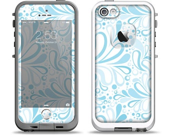 The Light Blue Droplet Sprout Pattern Apple iPhone LifeProof Case Skin Set