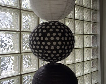 Black and White Party Lanterns Set of 3