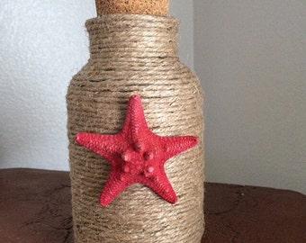 Jute Beach Bottle with Starfish   Twine Beach Bottle   Beach Bottle