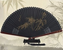 Whole Bamboo Hand Floding Fan hand fan bamboo leaf printed sculpture with light sweet-smell -- Z/6