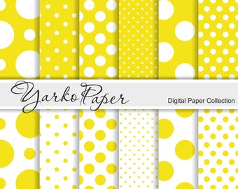Yellow And White Polka Dot Digital Paper Pack, Scrapbook Paper, Digital Background, 12 Sheets, Personal & Commercial Use - Instant Download