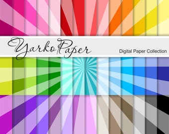 Tinted Sunrays Digital Paper Pack, Starburst Scrapbook Paper, Digital Background, 42 Sheets, Rainbow, Personal, Commercial -Instant Download