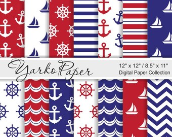 Navy Blue And Red Nautical Digital Paper Pack, 12x12, 8.5x11, Chevron, Anchor, Stripes, Geometric, Marine, 14 Sheets - Instant Download