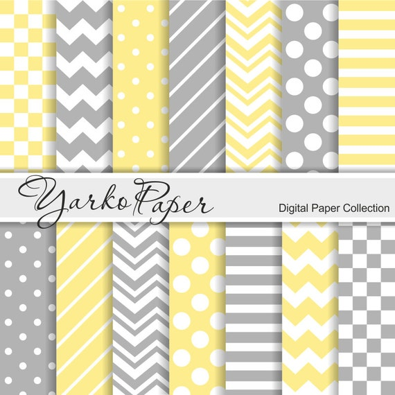 Yellow Grey Digital Paper Pack Chevron Polka Dot Stripes