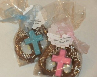 Chocolate Covered Pretzel Favor with Cross for Baptisms, Christenings, Communions