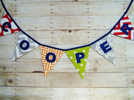 Name Banner - red, orange, green and gray fabrics - Party Banner - photo prop - Fabric name banner - birthday party decor