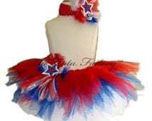 4th of July Tutu . Americana Sparkler Tutu and Headband . Infant thru Size 10 . Red . White . Royal Blue