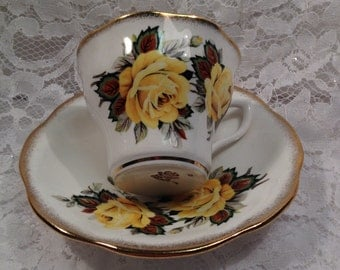 Yellow Roses Fine Bone China Tea Cup and Saucer Made in England, 1960's, Gold Dusted Edges.