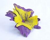 Eye-catching, yellow and purple felt flower brooch - unique, large, sunny jewelry for women - fiber art, eye catching, wool brooch [B56]