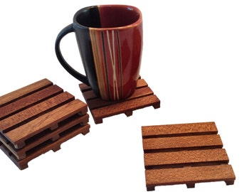 4 African Mahogany Beverage Pallet Drink Coasters - Coffee Coaster  - Temporary price reduction