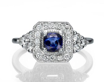 Vintage Engagement Ring, 18K White Gold Ring, Halo Engagement Ring, 0.84 TCW Blue Sapphire Ring Art Deco, Unique Rings