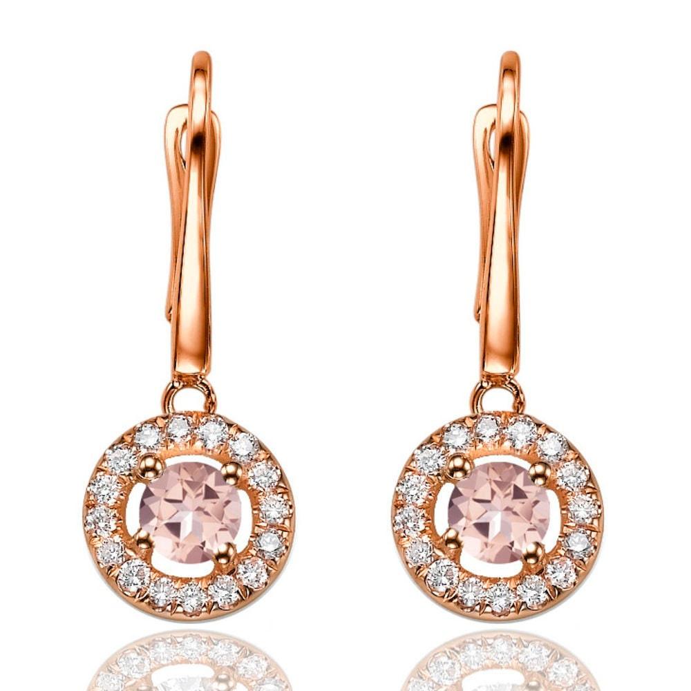 classic morganite diamonds dangle earrings 14k rose gold. Black Bedroom Furniture Sets. Home Design Ideas