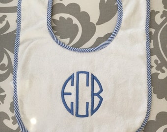 Monogrammed baby boy girl bib blue or pink terry cloth pin stripes