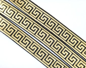 "Black with Gold Metallic Greek Key Pattern 5/8"" Fold Over Elastic 1, 3 or 5 yards"