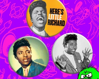 "MEDIUM ""Here's Little Richard!"" Buttons (2.25"" pinbacks) [rock n roll long tall sally oldies lucille good golly miss molly]"