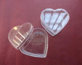 20pcs large clear plastic box--heart shape plastic box--75x70x33mm -- OA36