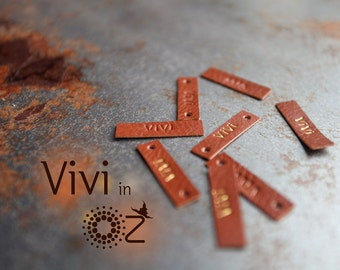Custom Leather Labels - Personalized Labels Tags - Vivi in Oz