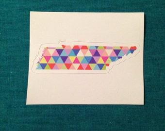 Vinyl Sticker - Tennessee - Colorful Hipster Geometric Triangles Nashville  - Laptop Sticker - Bumper sticker