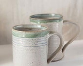 Seasonal special offer-White fleck Glaze Cup with Traces of Green-Blue - Handmade Pottery-(-30%)
