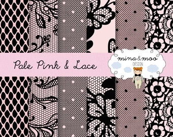 Black and Pink Lace Digital Paper - Lace digital paper- pink lace digital - black lace texture - lace background - lace texture