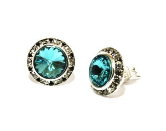 Aquamarine 13mm Silver Stud Earrings made with Swarovski Crystal Elements