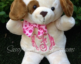 Monogrammed Stuffed Animal Puppy Dog - Personalized Stuffed Animal - Baby Shower Gift