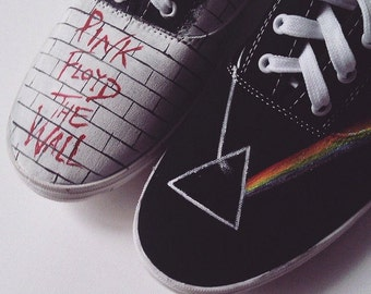 Custom handpainted sneakers, Pink Floyd The Wall Dark Side of the Moon Fanart personalized shoes