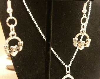 Handmade Claddagh  Necklace with Earring Set