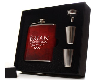 Personalized Flask Gift Set for Groomsman // 1 Red Flask Gift Set