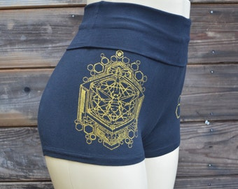 Sacred Geometric Honeybee High Waisted Hot Shorts  - Sacred Geometry - Roll Top Shorts - Yoga Wear