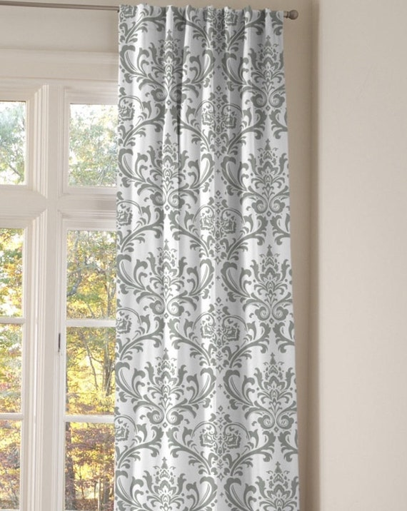 Grey and white damask window treatments bedroom by ellabellafabric for Grey bedroom window treatments