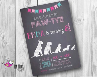 Puppy Birthday Invitation, Chalkboard Puppy Invitation, Dog Invitation, Chalkboard Dog Invitation, Printable, Digital File