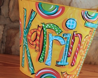 Personalized Bucket, Name Bucket for Boys, Painted Metal Pail