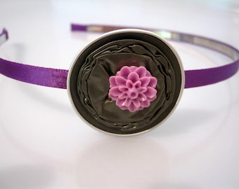 Upcycled Metal Headband Decorated With a Flower Made From Upcycled Nespresso Capsules in Purple & Moss Green