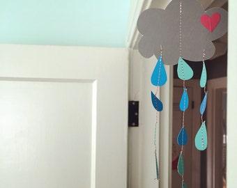 rain cloud mobile cut paper art -- littlest mobile -- nursey mobile, crib mobile, baby mobile, door mobile, baby home decor