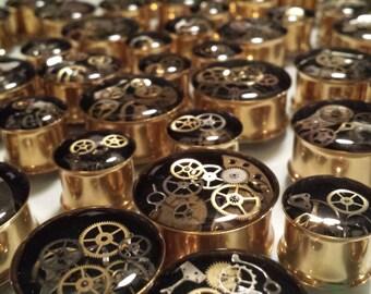 "Gold IP Steampunk Plugs 9/16 (14mm), 5/8 (16mm), 3/4 (19mm), 7/8 (22mm), 1"" (25mm), 28mm, 32mm, 35mm, 38mm, 42mm, 45mm, 48mm, 51mm"