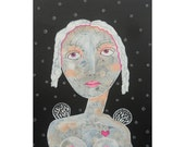 Angel Painting Whimsical Folk Art Beautiful Woman Girl Black White Pink Sacred Inspirational Spiritual