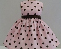"""Fits 18"""" American Girl Doll and others Handmade Doll Clothes  Pink with Brown Polka Dots"""