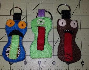 Handmade Felt Monster Keyring Ear Bud Holders