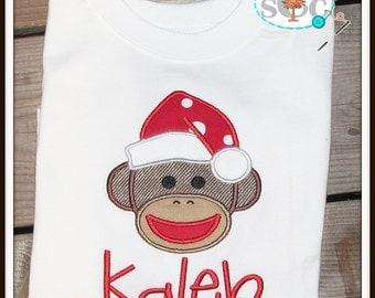 Christmas Santa Sock Monkey Shirt/Bodysuit