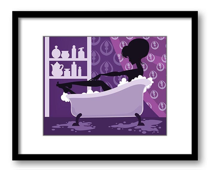 Purple Bathroom Decor Bathroom Print Silhouette Girl Bathtub Tub Bathroom Art Prints Wall Decor Modern Minimalist
